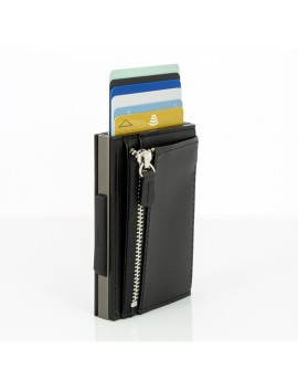 Ogon Cascade Zipper Wallet Snap RFID Titan Black
