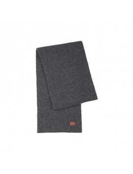 Rib Knit Scarf with Victorinox Leather Patch grey